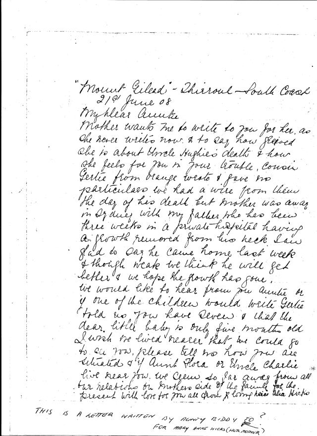 Letter from Mary Ann - Alice Hicks to Flora McKenzie