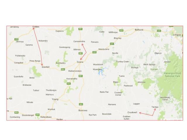 Mckenzie Jnr map Taralga to Canowindra