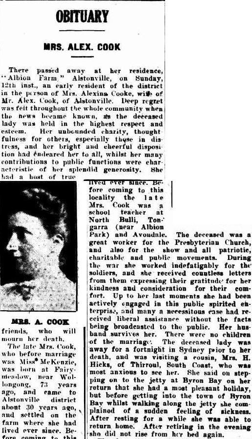 Alexina Cook nee McKenzie Obituary 1926 Lismore via Trove