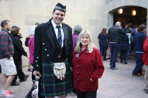 Mary Ann Hicks nee McKenzie's gt gt granddaughter Kerrie Anne Christian also attended the McKenzie brunch - seen here several weeks earlier with AWM Piper in Clan McKenzie Tartan kilt - he's a McKenzie of course !