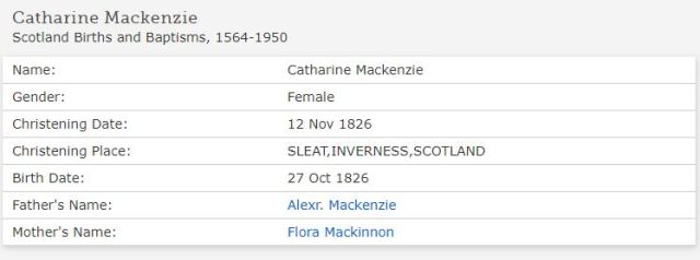 Catherine McKenzie baptism - FAmilysearch