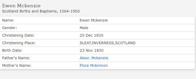 Ewen McKenzie baptism 1830