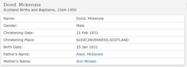 Family Search baptism Donald Daniel McKenzie 1831 Sleat