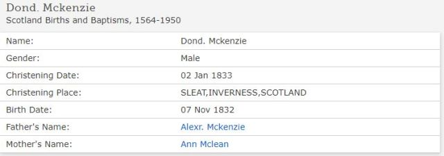 Family Search baptism Donald McKenzie 1833 Sleat