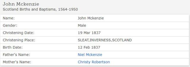 Family Search John McKenzie 1834 Baptism Sleat