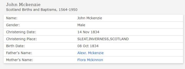 John McKenzie 1834 baptism